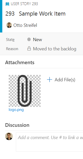 paperclip logo preview above discussion group